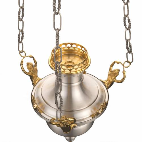 Blessed Sacrament lamp in satin brass with angels s4