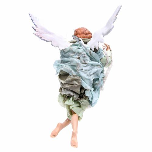Blonde angel with green clothes, figurine for Neapolitan Nativity, 45cm s2