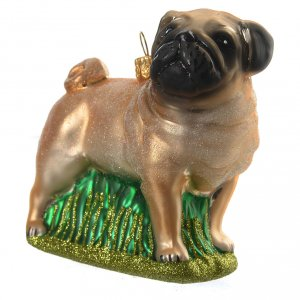 Blown glass ornaments: Blown glass Christmas ornament, pug