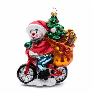 Blown glass ornaments: Blown glass Christmas ornament, snowman with gifts
