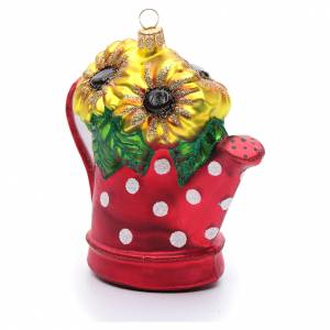 Blown glass ornaments: Blown glass Christmas ornament, watering can with sunflowers
