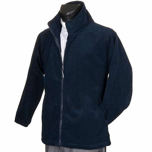 Blue pile jacket with zip and pockets s2