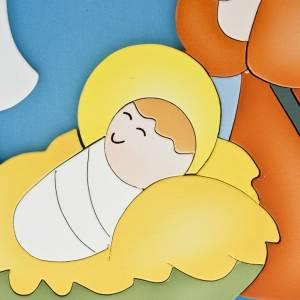 Płaskorzeźby różne: Boże Narodzenie drewniany obrazek zaokrąglony
