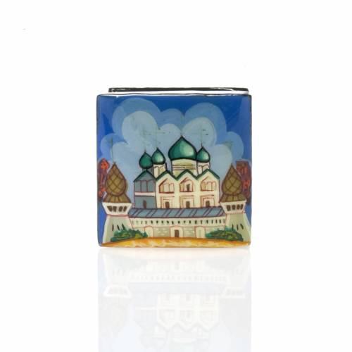 Boite laquée 'églises de Moscou' Russie bleu s2