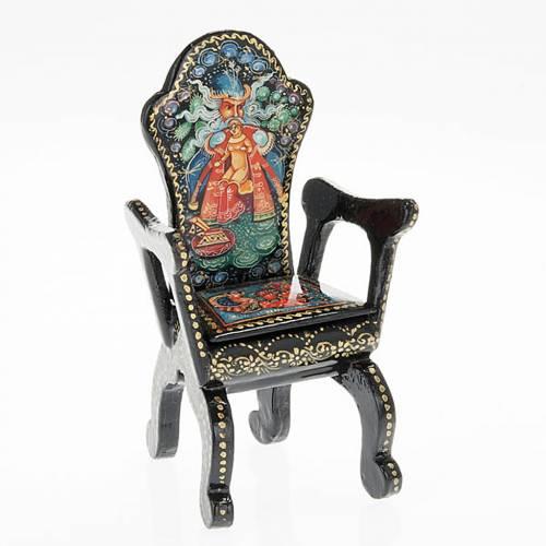 Boite laquée russe 'chaise avec Grand-père gel et Troika' s1