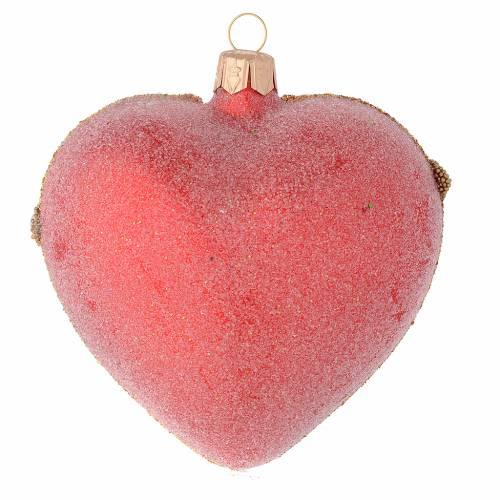 Bola de Navidad corazón corazón de vidrio soplado rojo y oro 100 mm s2