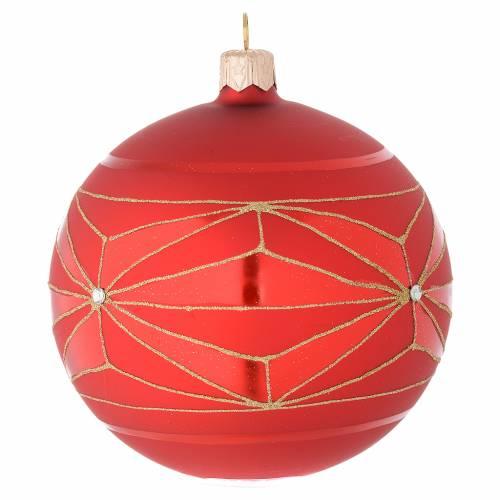 Bola de Navidad de vidrio soplado con decoraciones geométricas doradas 100 mm s2