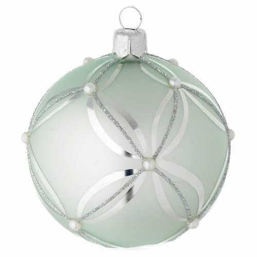 Bola de Navidad de vidrio soplado verde metalizado 80 mm s1