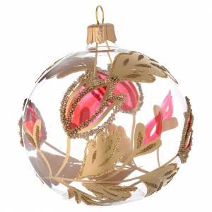 Bolas de Navidad: Bola de Navidad de vidrio transparente con decoraciones rojas y oro en relieve 80 mm