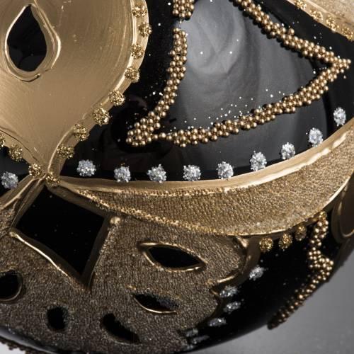 Bola de Navidad vidrio negro decoración dorada de 10 cm s5