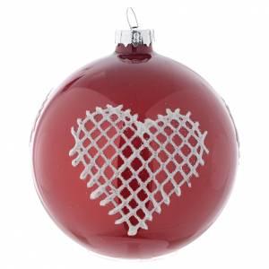 Bolas de Navidad: Bola de vidrio color rojo con decoraciones 80 mm para árbol de Navidad