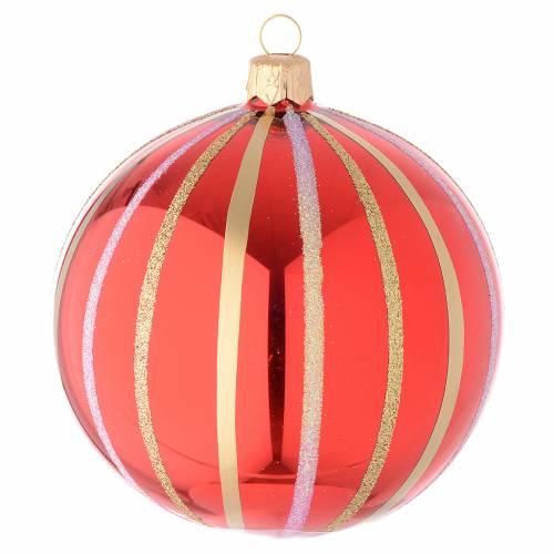 Bola para árbol de Navidad de vidrio soplado rojo y oro 100 mm s1