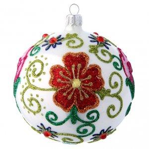 Bolas de Navidad: Bola vidrio soplado blanco lustroso con flores multicolor 100 mm