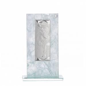 Bomboniera Cristo vetro argento celeste h. 11,5 cm s1