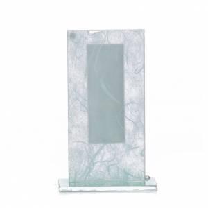 Bomboniera Cristo vetro argento celeste h. 11,5 cm s3