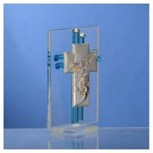 Bonbonnière Baptême Ange verre Murano aigue-marine h 8 cm s3