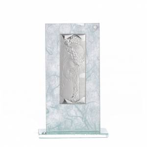 Bonbonnières: Bonbonnière Christ verre argent céleste h 11,5 cm