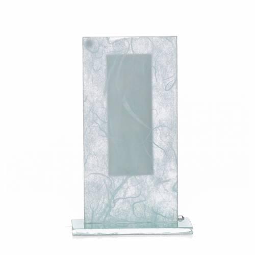 Bonbonnière Christ verre argent céleste h 11,5 cm s3