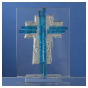Bonbonnière Communion croix verre Murano aigue-marine arg h 10,5 cm s4