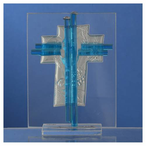 Bonbonniere Communion Cross aquamarine Murano glass 10,5cm s4