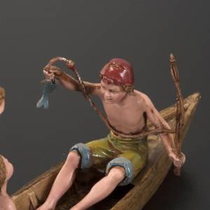 Krippenfiguren: Boot mit 3 Männer 10cm Krippe Moranduzzo