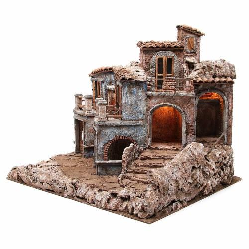 Borgo antico del presepe con capanna 55x60x50 cm s2