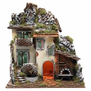 Capanne Presepe e Grotte: Borgo con capanna presepe cm 55x50x35 con luce fontana forno