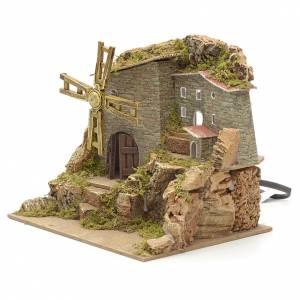 Borgo con mulino a vento presepe 18x20x15 con scaletta s2