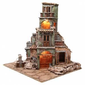 Borgo illuminato del presepe con capanna 60x60x50 cm s2