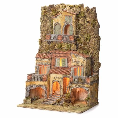Borgo presepe napoletano 75X45X35 per statue 6/8 cm s3