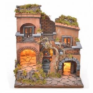 Presepe Napoletano: Borgo presepe napoletano con forno e luce 33x32x27