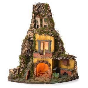 Presepe Napoletano: Borgo presepe napoletano stile 700 angolare con forno 50x40x50