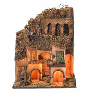 Borgo presepe Napoli fontana e pozzo 60x50x42 s1