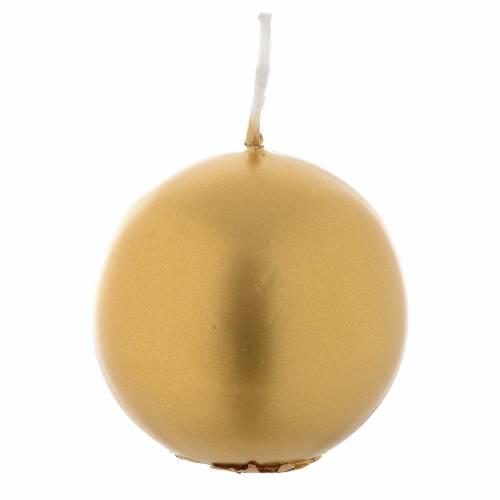 Bougie de Noël sphère or diamètre 6 cm s1