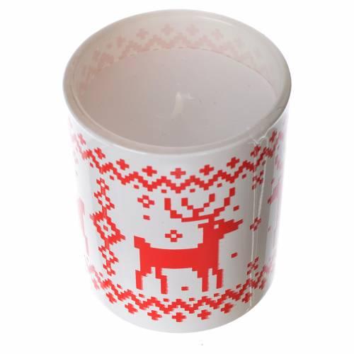Bougie de Noël verre en verre rouge et blanche assorties s3