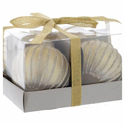 Bougie Noël boule sapin set 4 pcs dorée diam. 5 cm s2