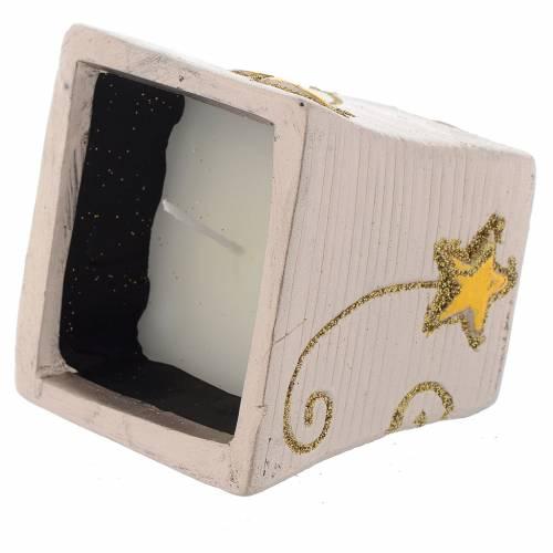 Bougie Noël Golden Stars pot carré s2