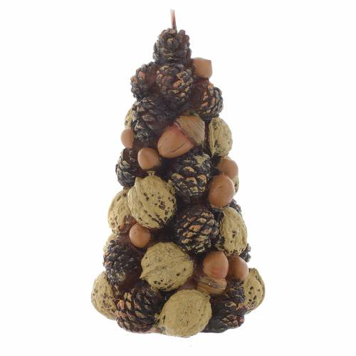 Bougie Noël sapin noix noisettes 15 cm s1