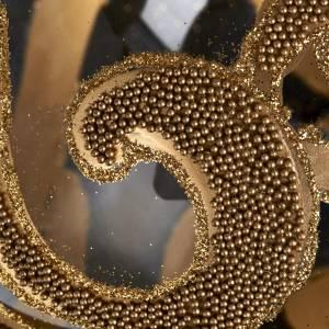 Boule de Noel décorée or verre transparente 15 cm s3