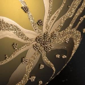 Boule de Noel dorée verre décoré 15 cm s3