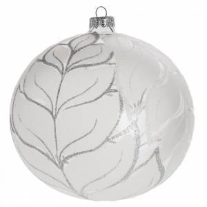 Boule de Noel feuilles argentées 15 cm s1