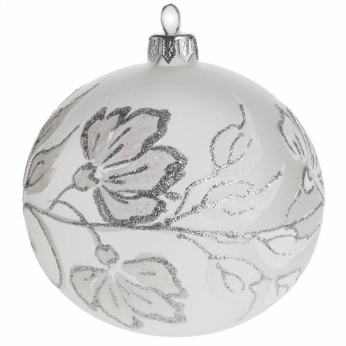 Boule de Noel fleurs argentées 10 cm s1