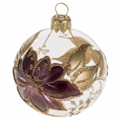 Boule de Noel peinte à la main fleur fuchsia or 6 cm s1