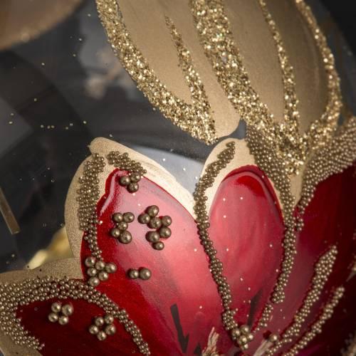 Boule de Noel transparente décors florales rouges 8cm s3