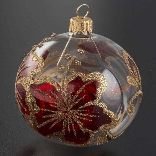 Boule de Noel transparente décors or rouge 8cm s2