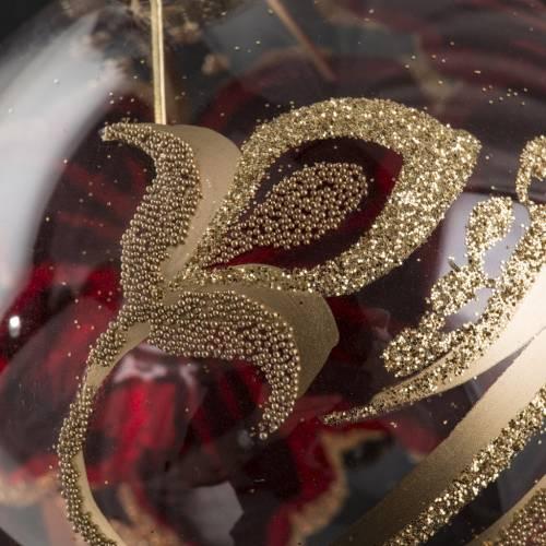 Boule de Noel transparente décors or rouge 8cm s4