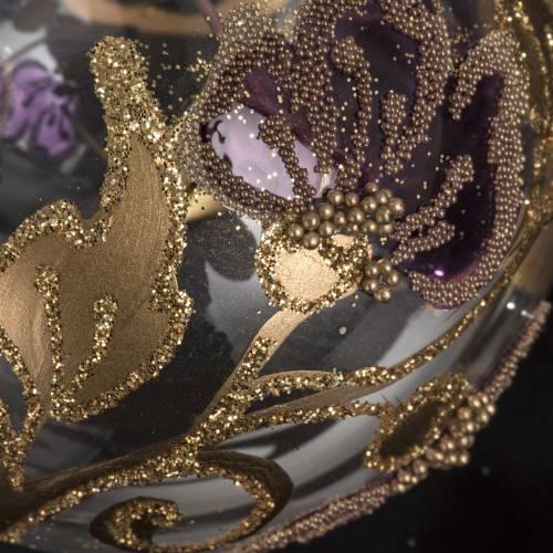 Boule de Noel transparente fleur fuchsia 6 cm s3