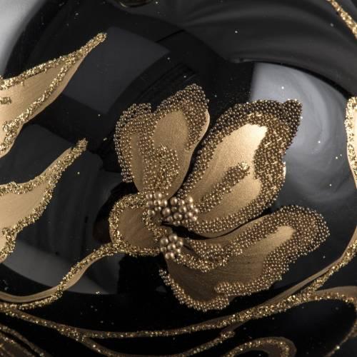 Boule de Noel verre noir fleurs or 8cm s3