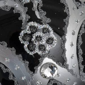 Boule de Noel verre noir peint à la main argent 10 cm s4