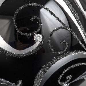 Boule de Noel verre noir peint à la main fleurs 10 cm s5
